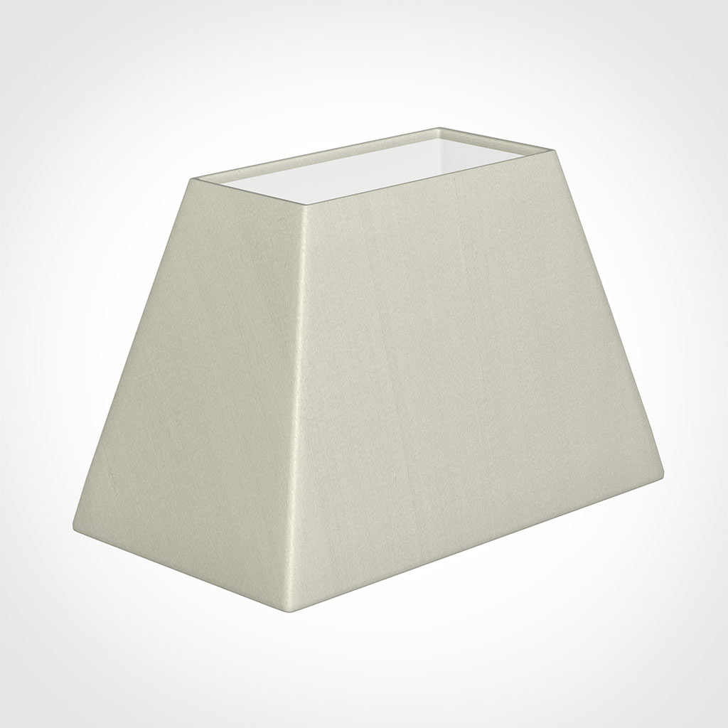 46cm Sloped Rectangle Shade in Pearl Faux Silk