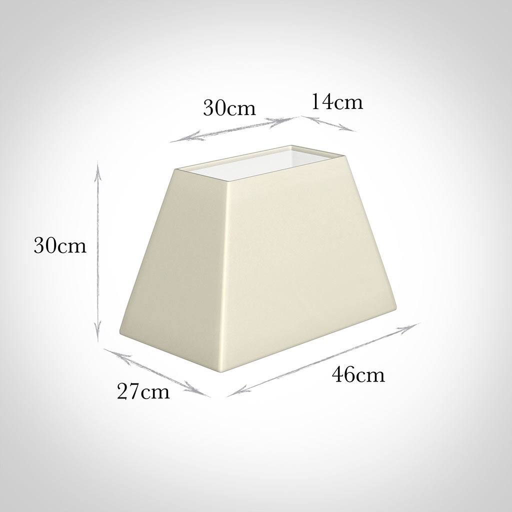 46cm Sloped Rectangle Shade in Cream Satin