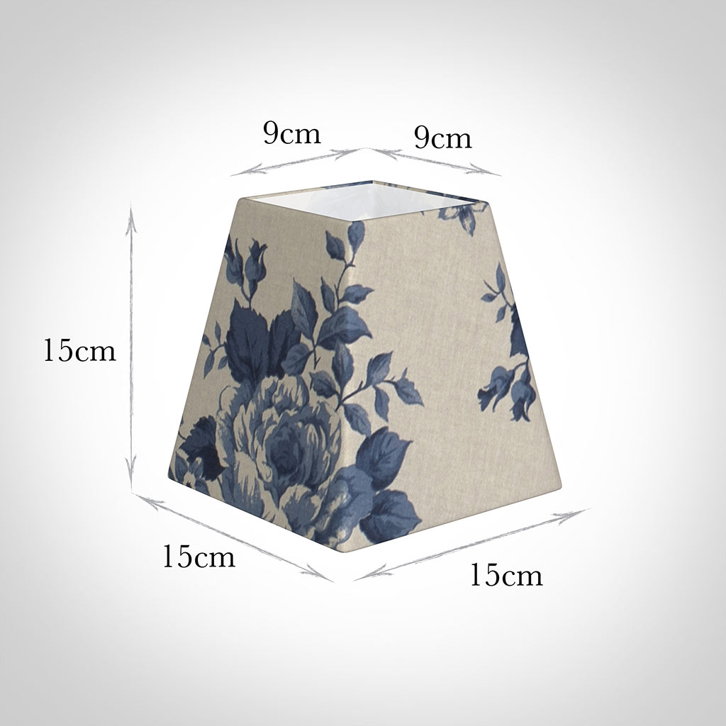 15cm Sloped Square Shade in Blue Bloom