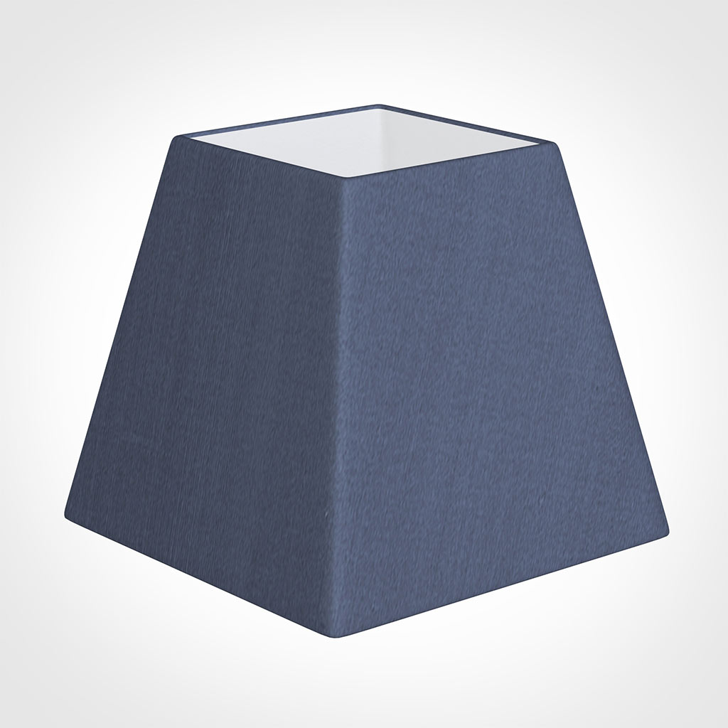 20cm Sloped Square Shade in Blue Faux Silk
