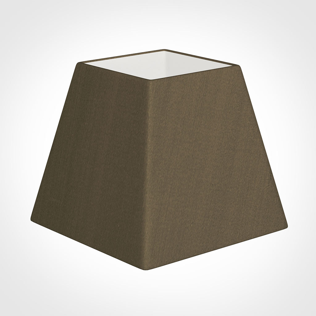 25cm Sloped Square Shade in Bronze Faux Silk
