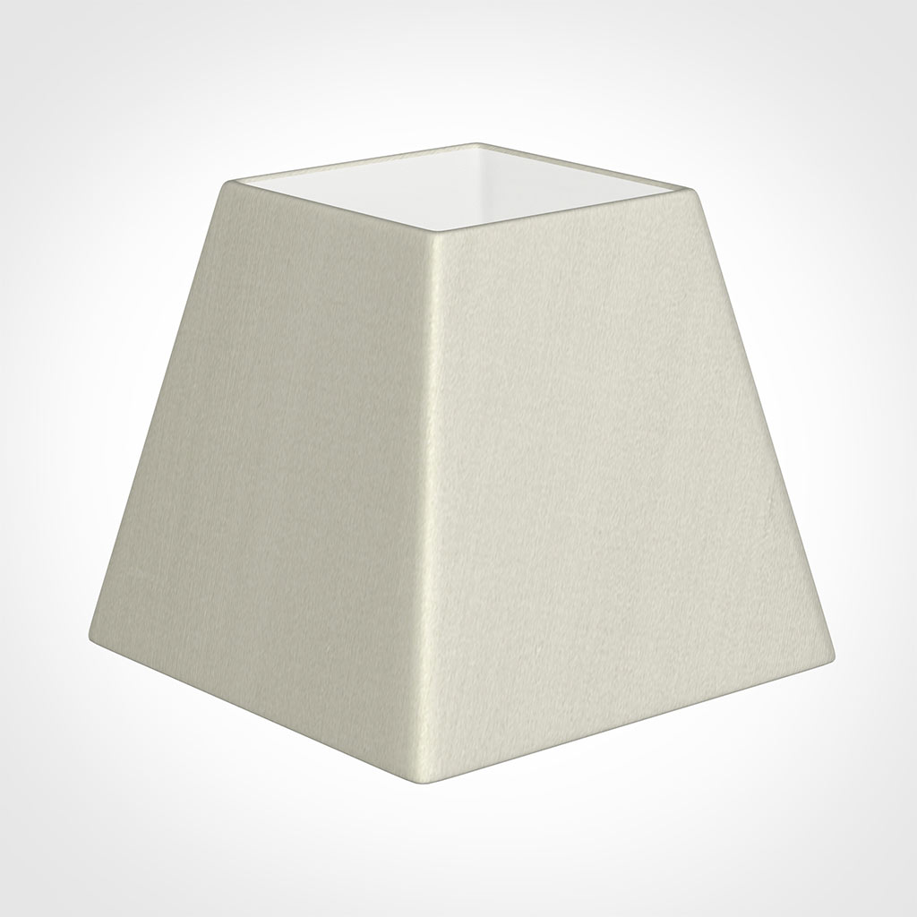 25cm Sloped Square Shade in Pearl Faux Silk