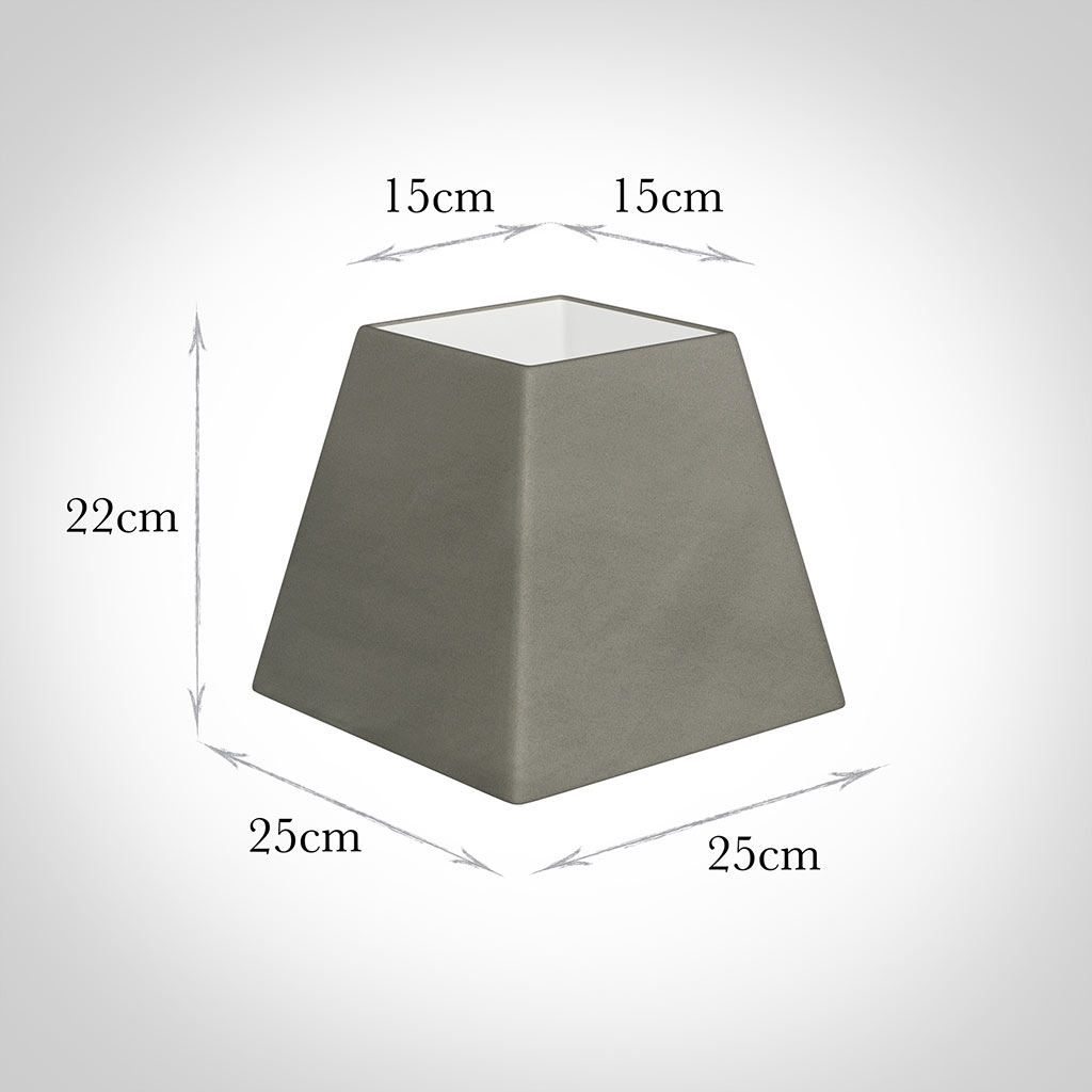 25cm Sloped Square Shade in Pewter Satin
