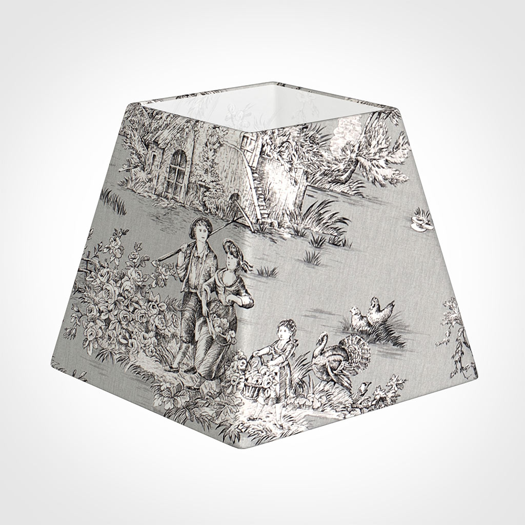 25cm Sloped Square Shade in Grey Pastoral Toile de Jouy-Lamp Base Only