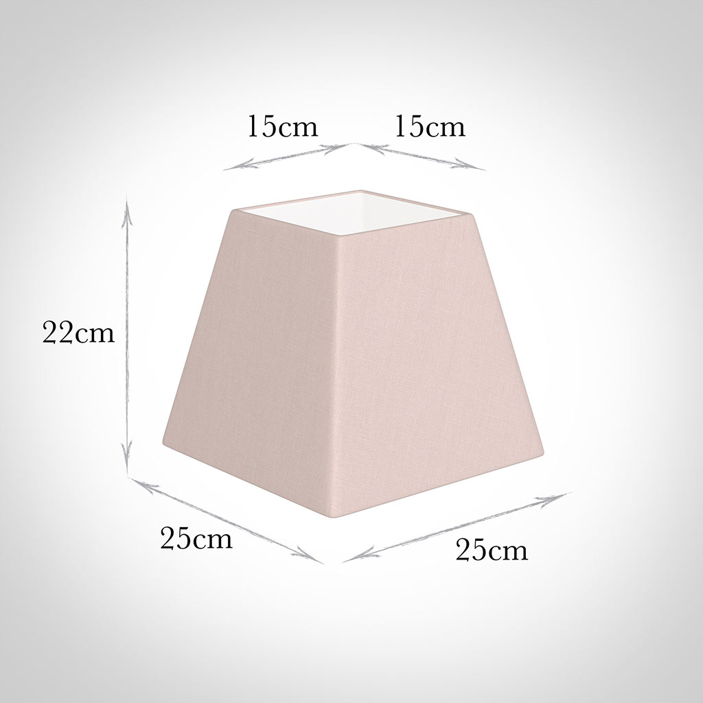25cm Sloped Square Shade in Vintage Pink Waterford