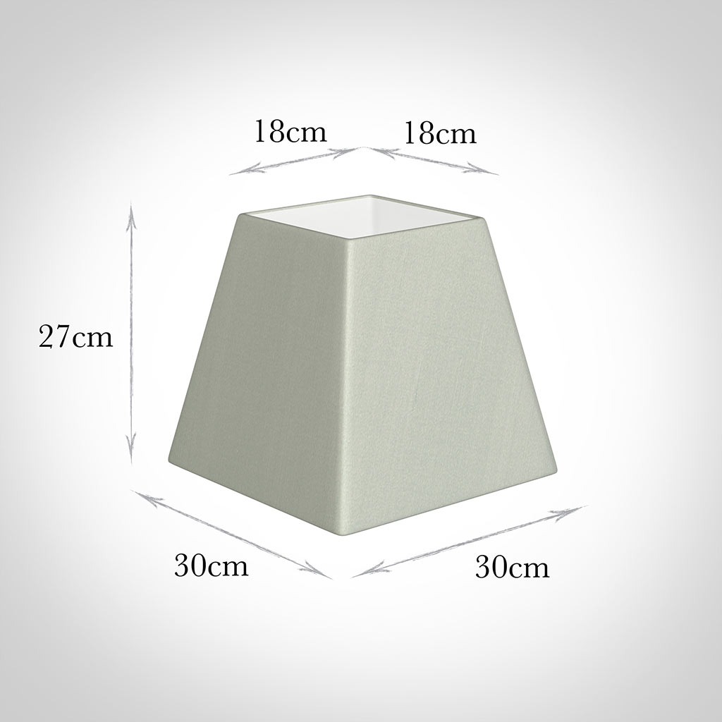 30cm Sloped Square Shade in Soft Grey Faux Silk