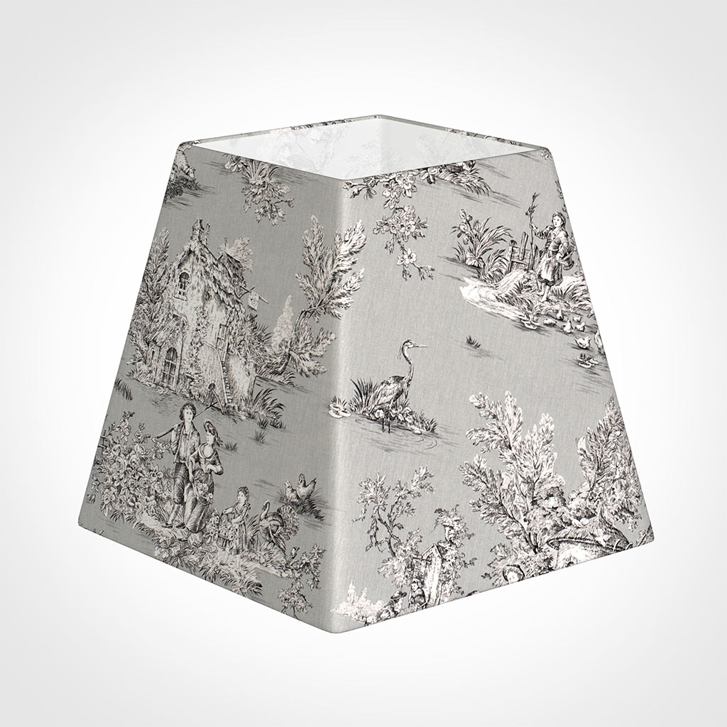 40cm Sloped Square Shade in Grey Pastoral Toile de Jouy-Lamp Base Only