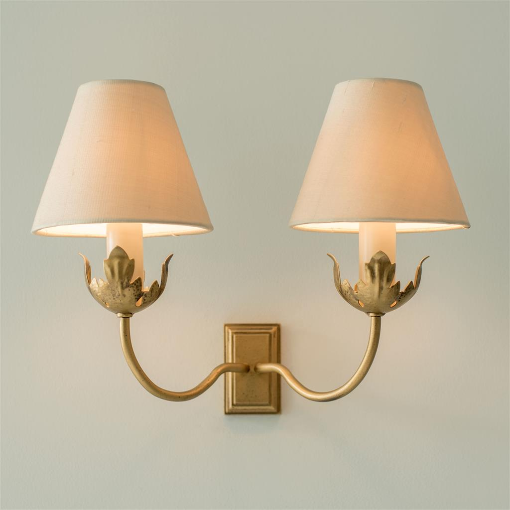 Double Tulip Wall Light in Old Gold