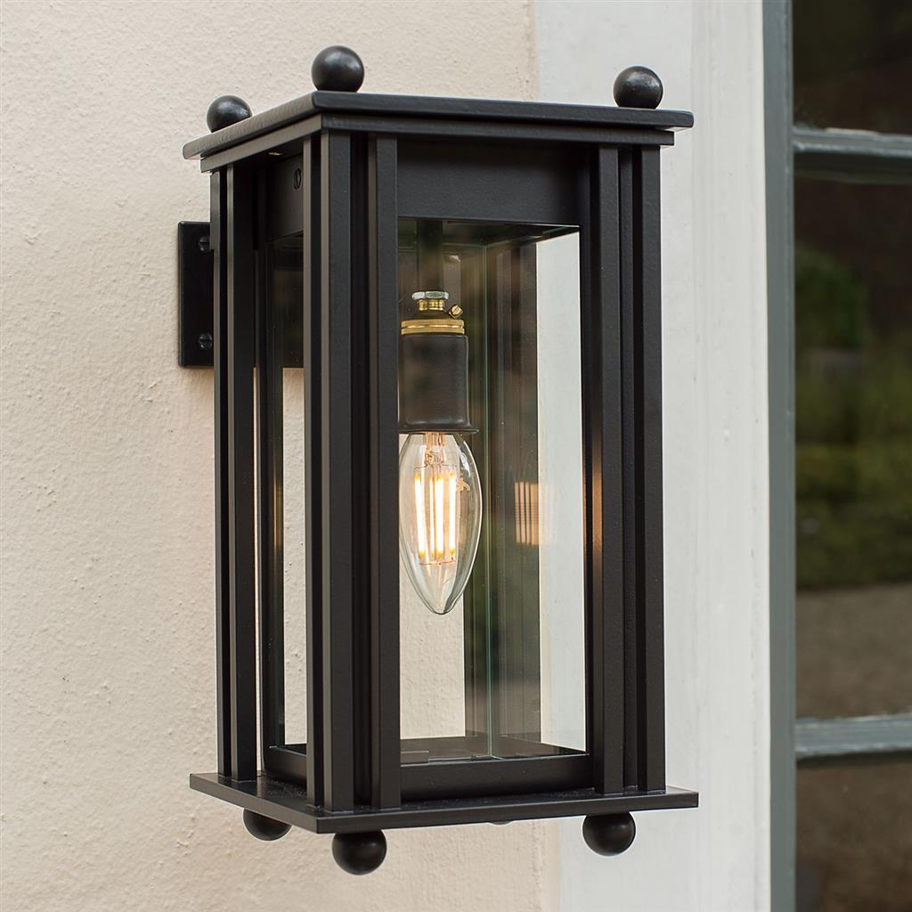 Black carriage lantern wall mounted outdoor lighting for Exterior wall mounted lanterns