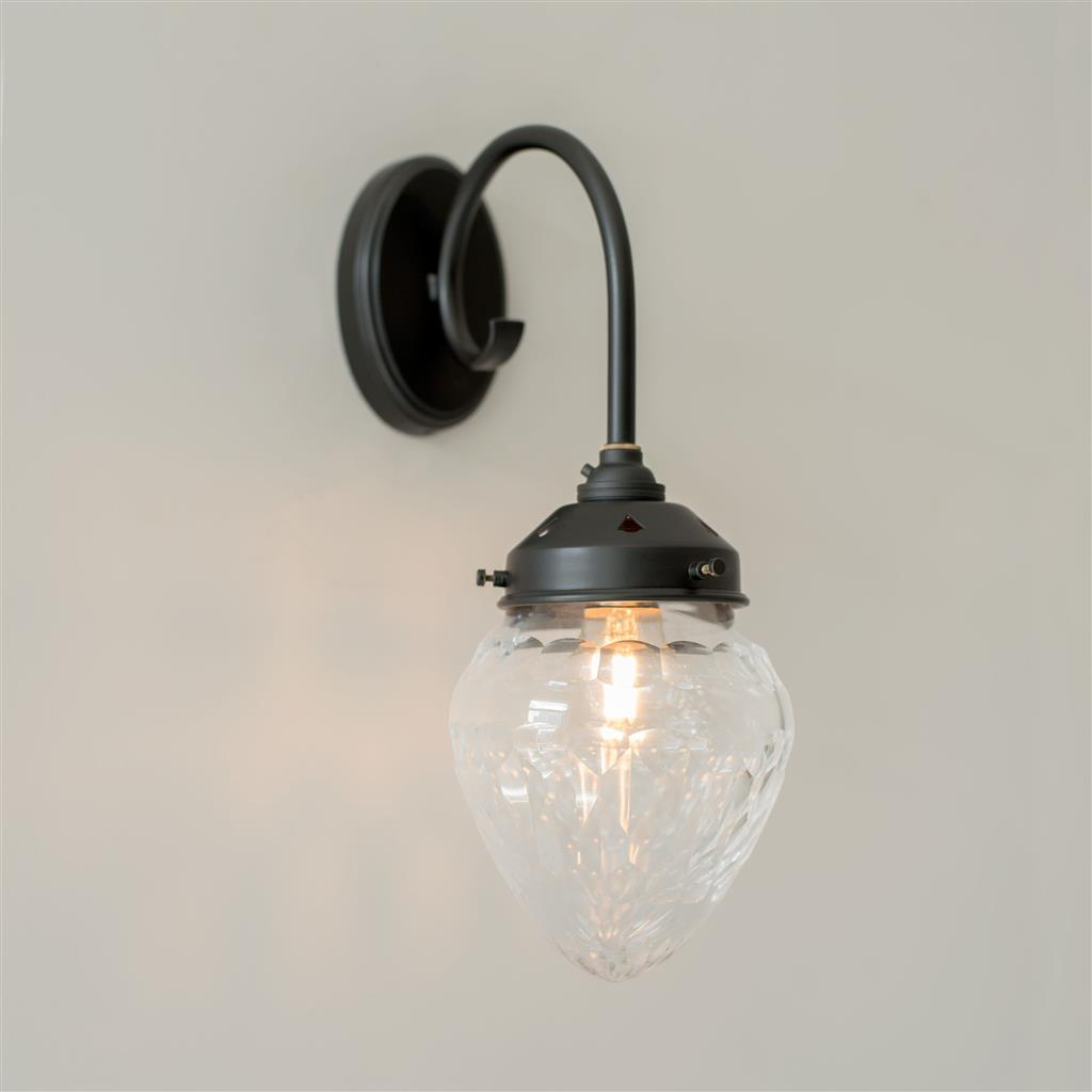 Black Orfila Wall Light Cut Glass Crystal Kitchen Amp Living Room Lighting Jim Lawrence