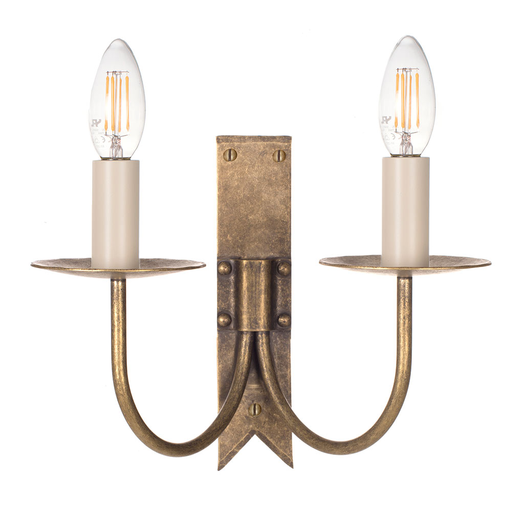 Double Cottage Wall Light in Antiqued Brass