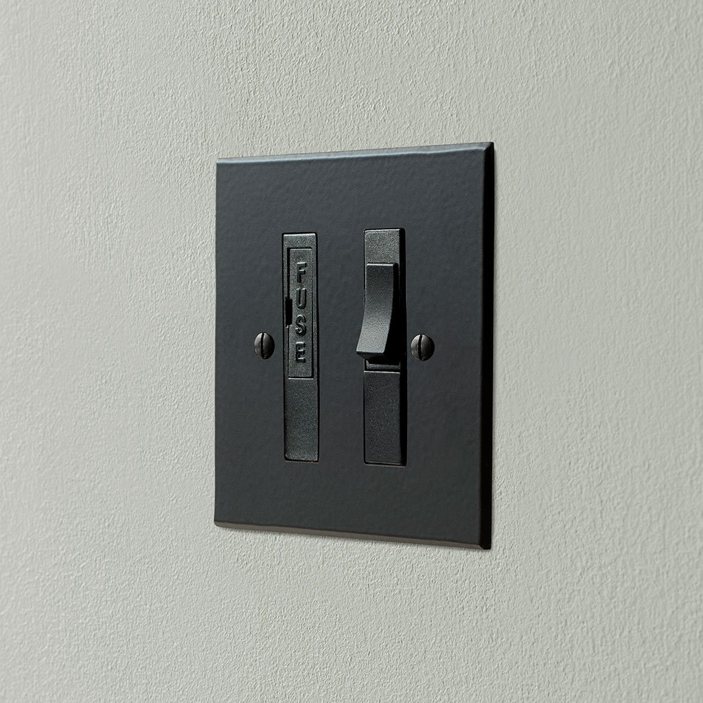 13amp Fused Switch Matt Black Bevelled Plate , Black Insert