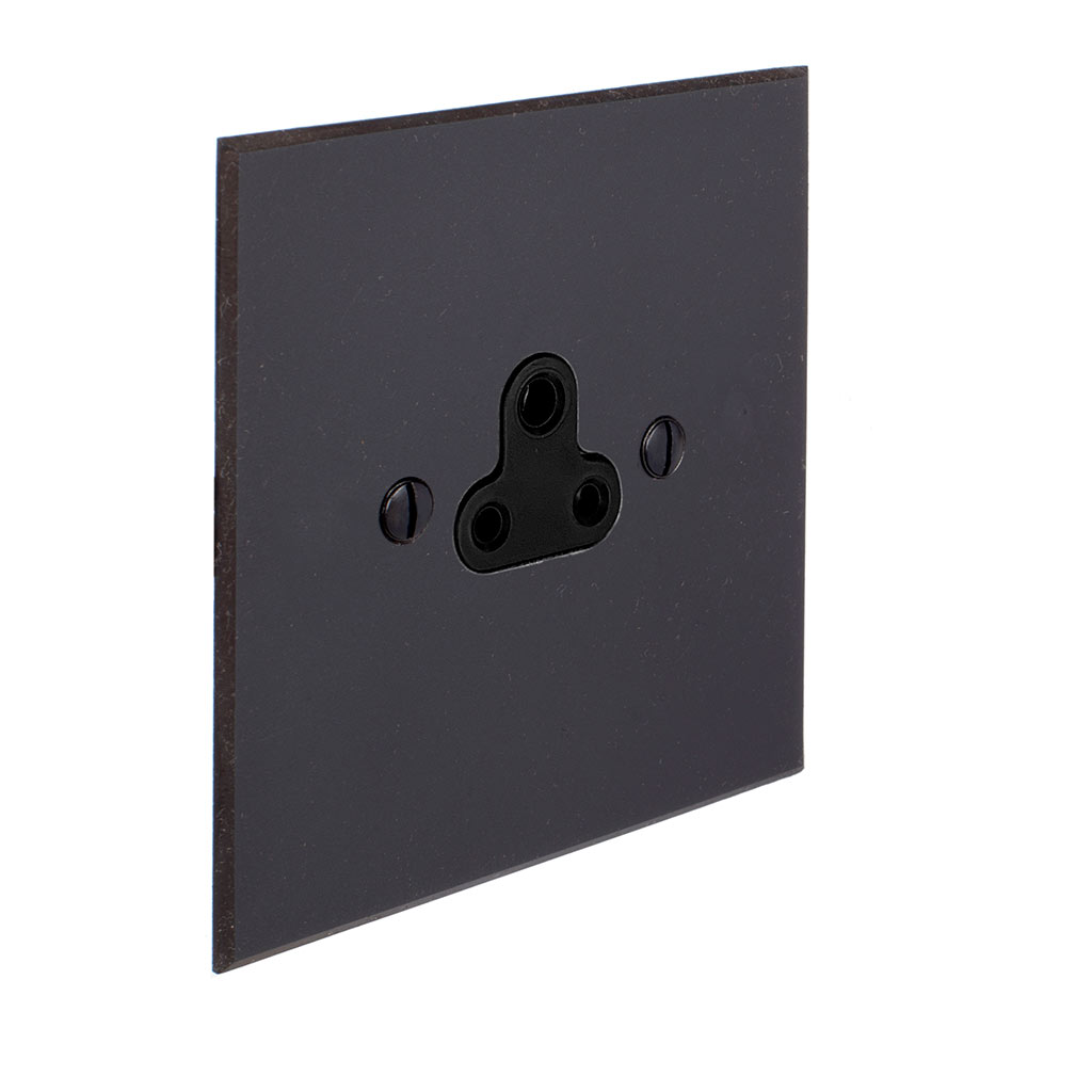 2amp Round Pin Socket Beeswax Bevelled Plate, Black Insert