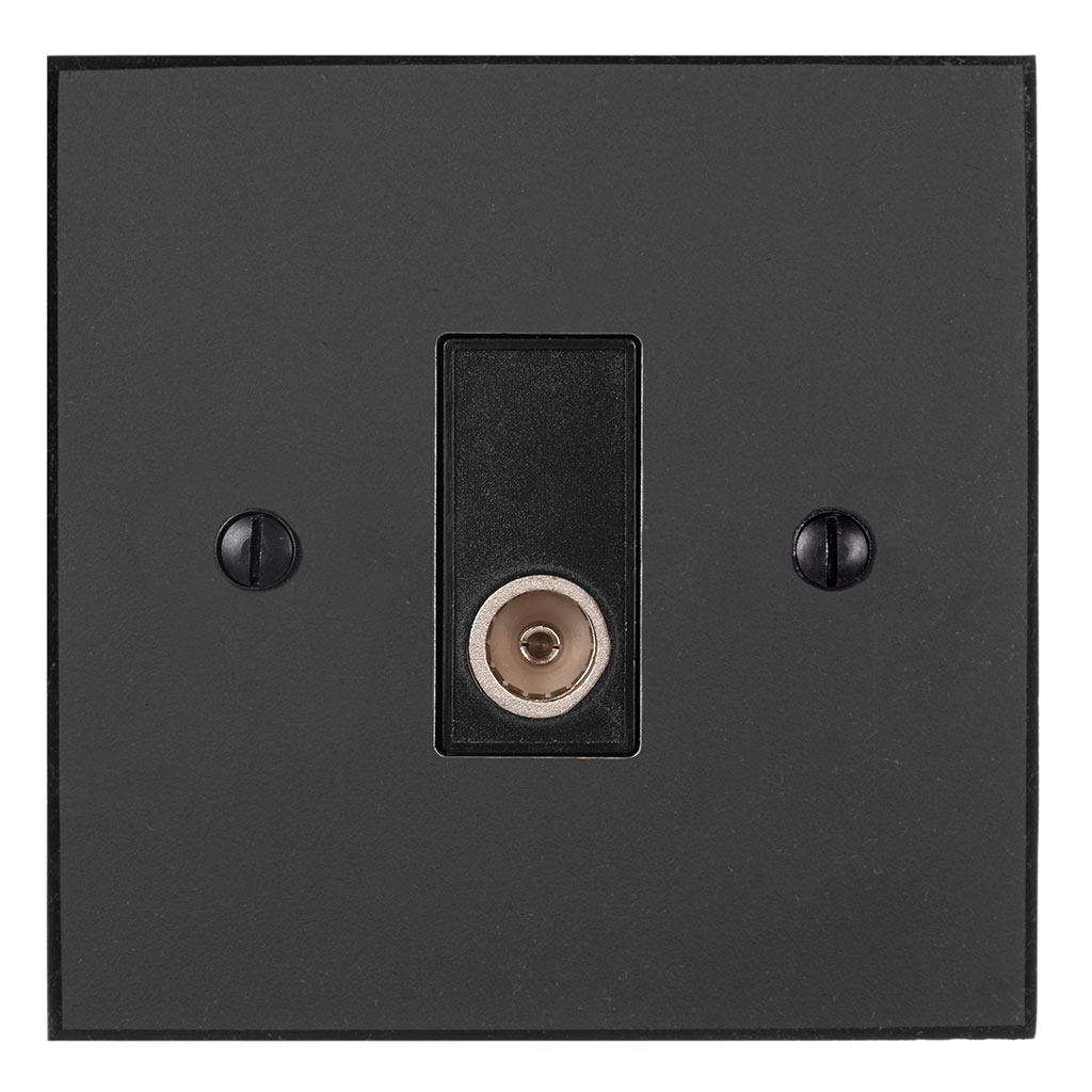 TV Co-axial Outlet Beeswax Bevelled Plate, Black Insert