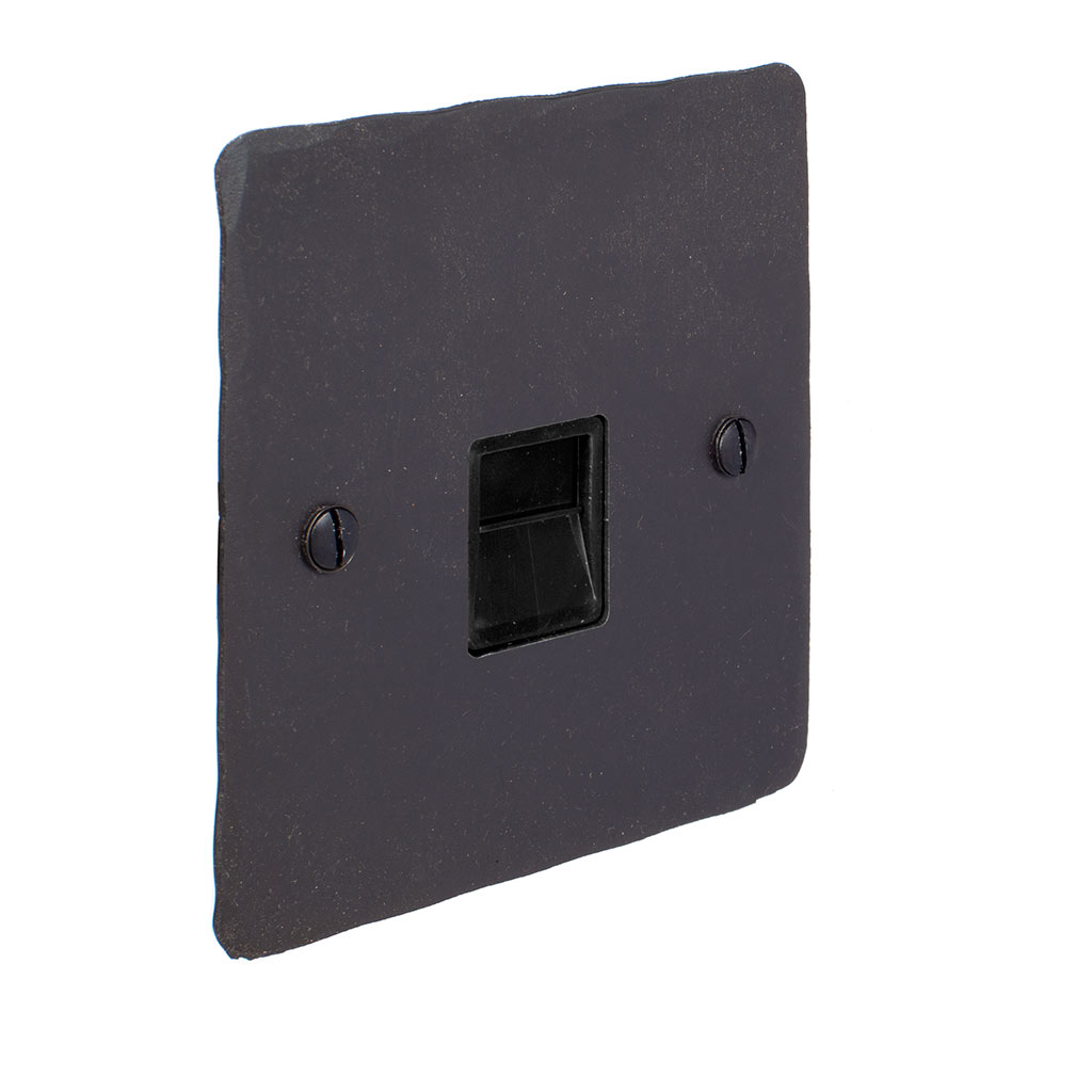 Master Telephone Socket Beeswax Hammered Plate, Black Insert
