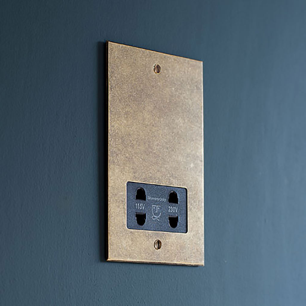 Shaver Socket with Antiqued Brass Bevelled Plate