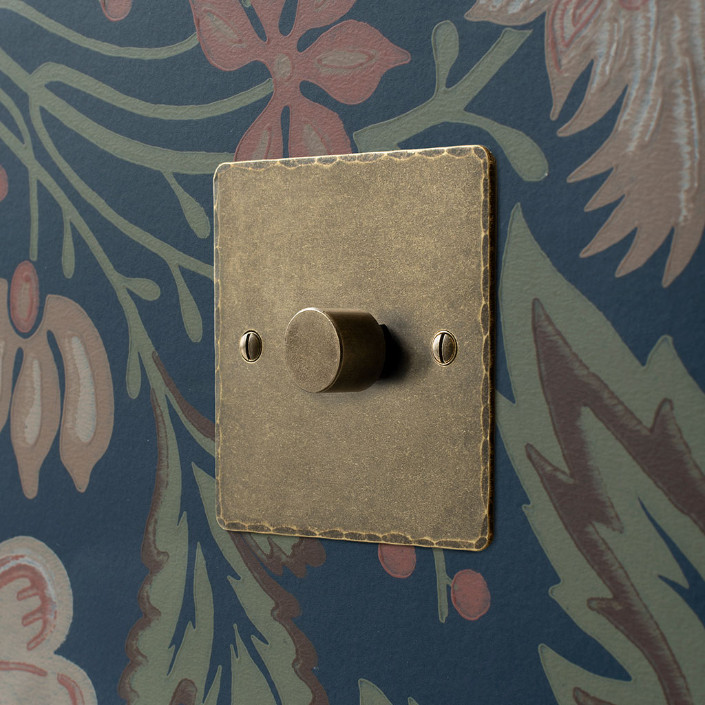 1 Gang Rotary Dimmer Antiqued Brass Hammered Plate