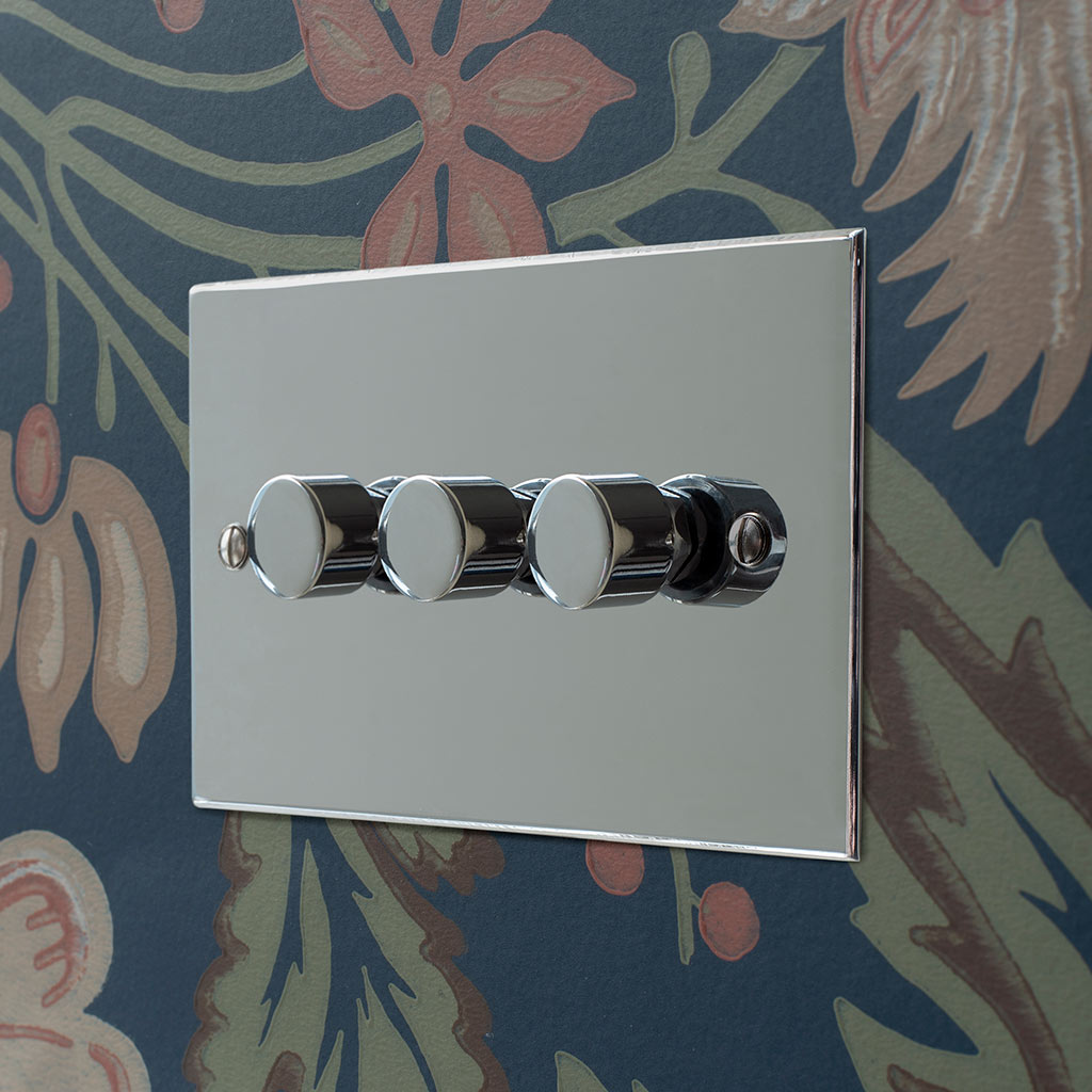 3 Gang Rotary Dimmer Nickel Bevelled Plate