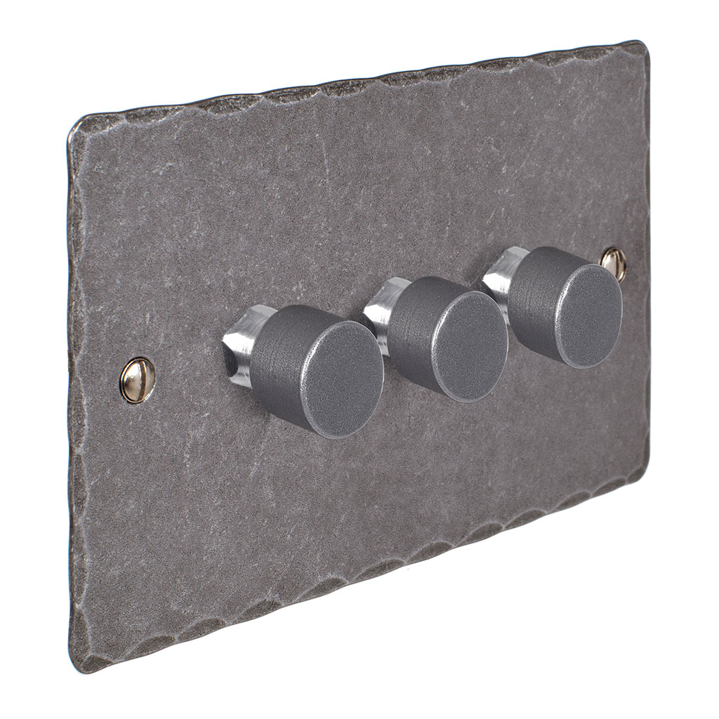 3 Gang Rotary Dimmer Polished Hammered Plate