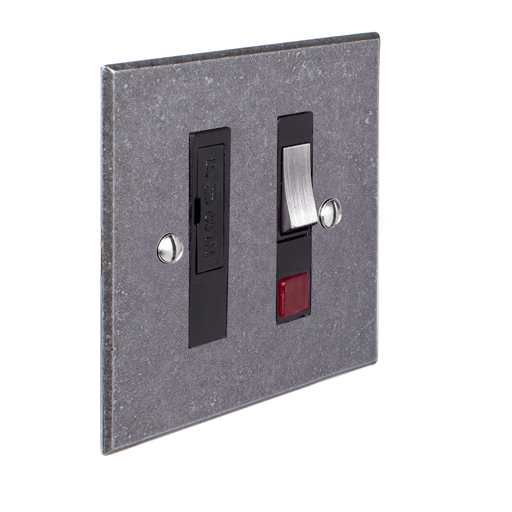 Fused Switch + Neon Polished Bevelled Plate, Steel Insert