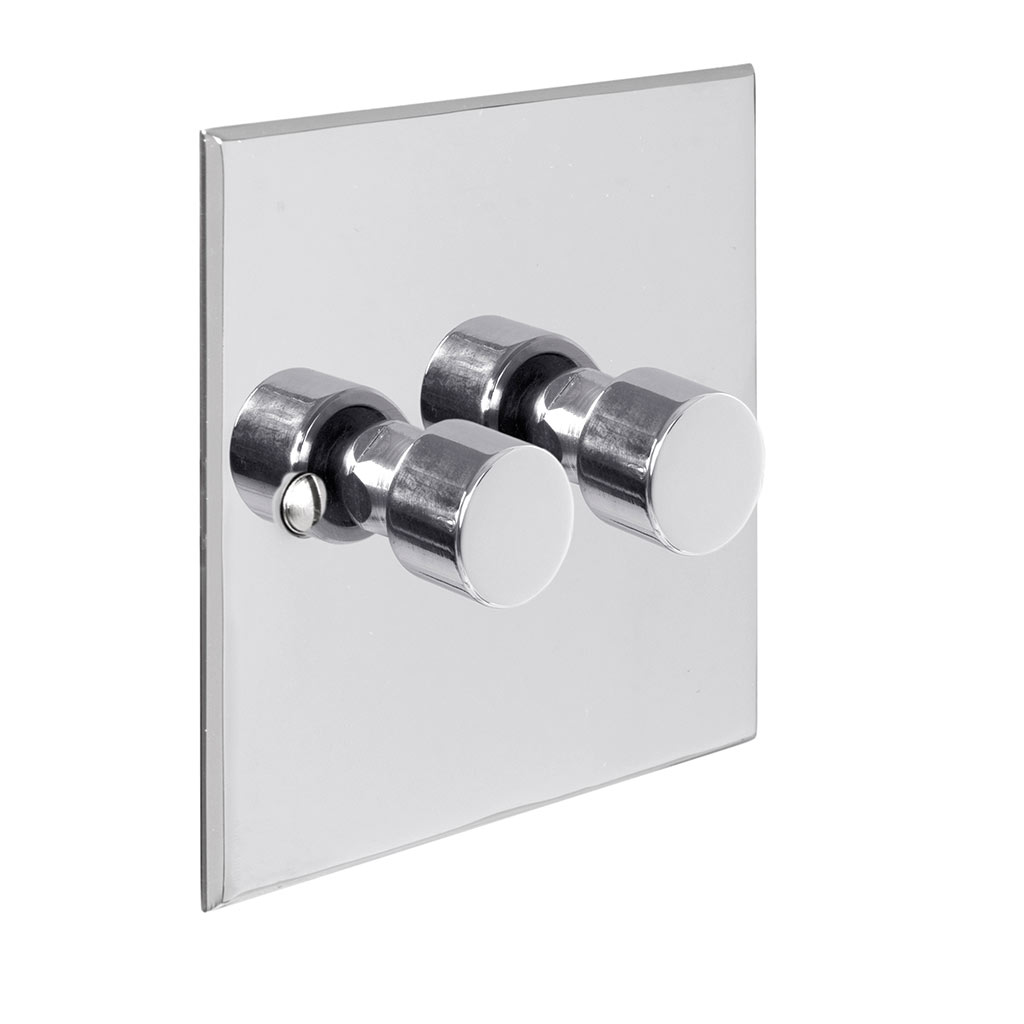 2 Gang Rotary Dimmer Nickel Bevelled Plate