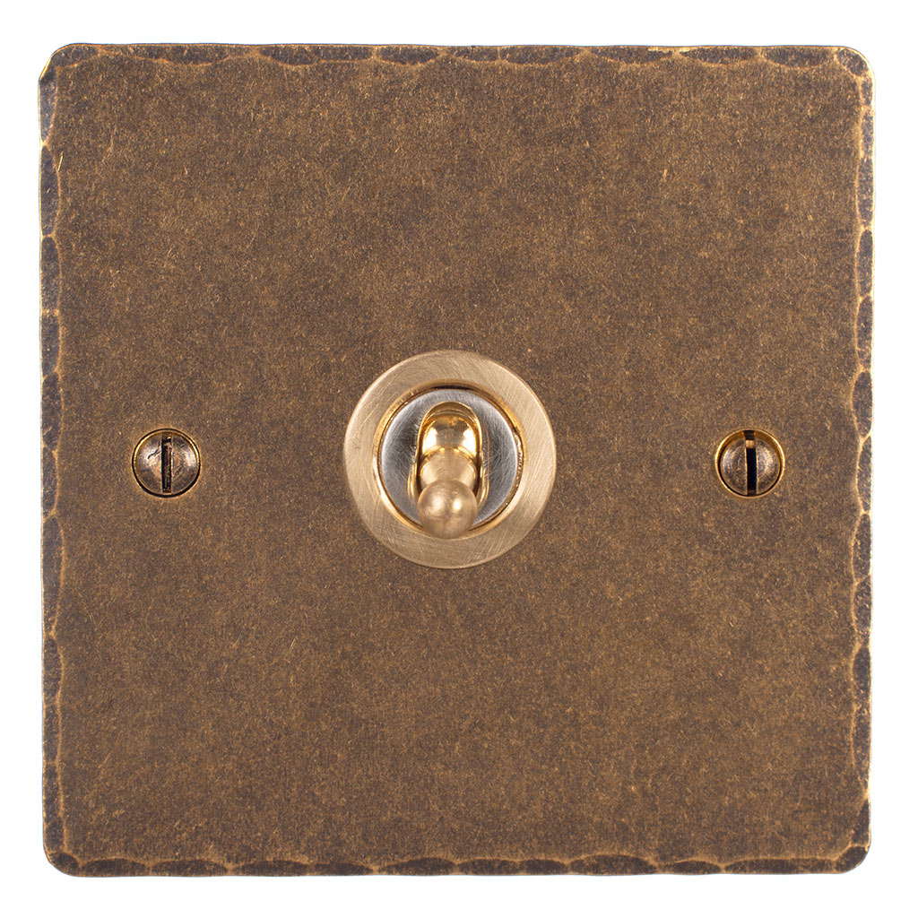 1 Gang Brass Dolly Switch Antiqued Brass Hammered Plate