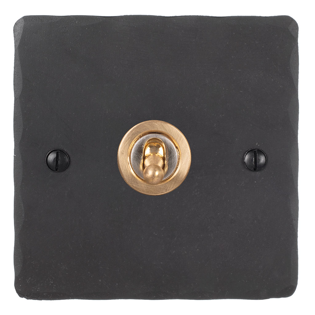 1 Gang Brass Dolly Switch Beeswax HammeredPlate