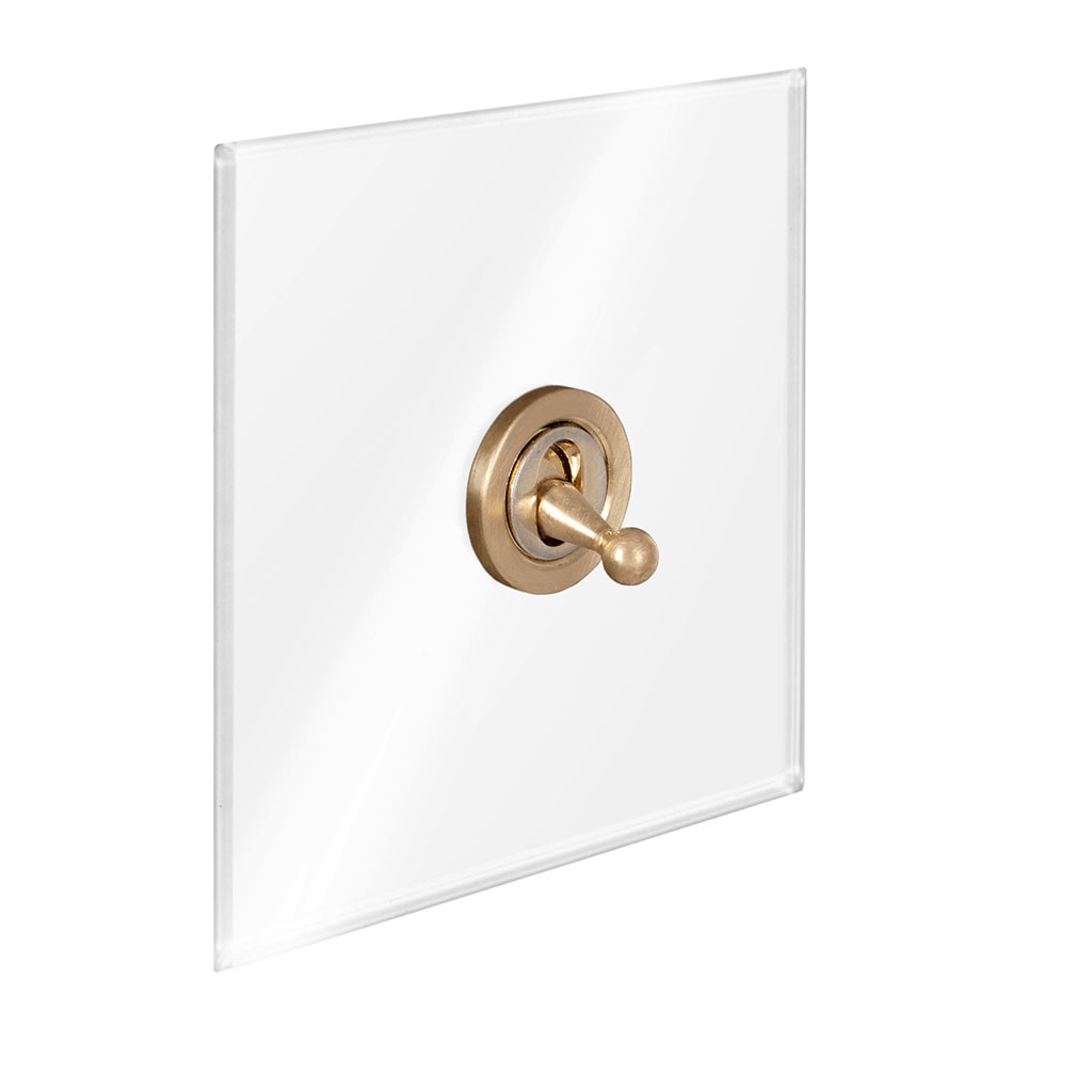 1 Gang Brass Dolly Switch Clear Plate