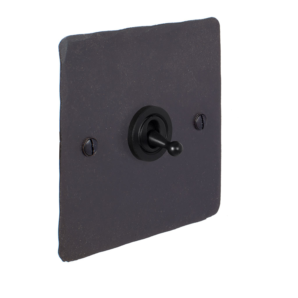 1 Gang Black Dolly Switch Beeswax HammeredPlate