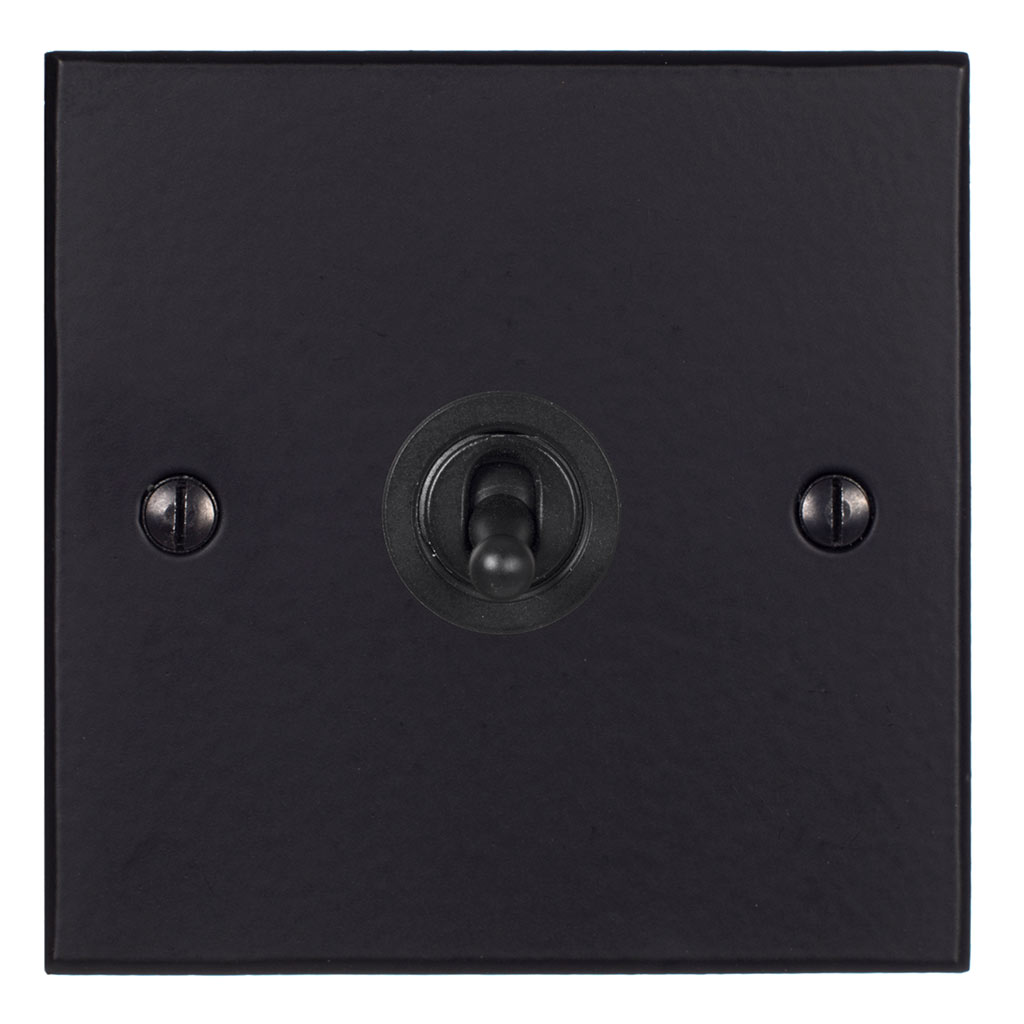 1 Gang Black Dolly Switch Matt Black BevelledPlate