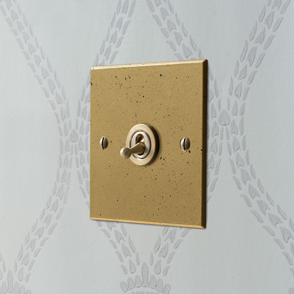 1 Gang Brass Dolly Switch Old Gold Bevelled Plate