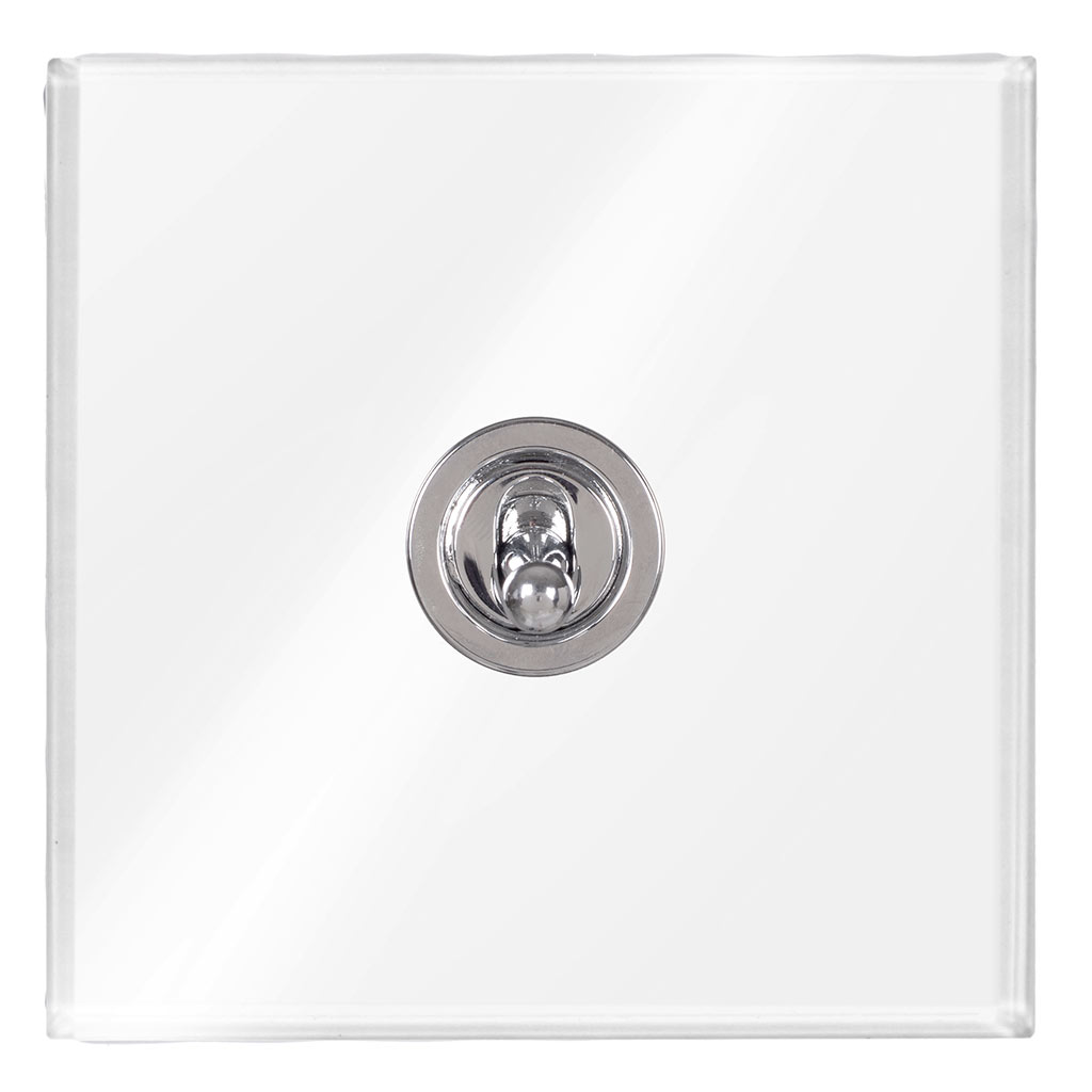 1 Gang Chrome Dolly Switch Clear Perspex Plate