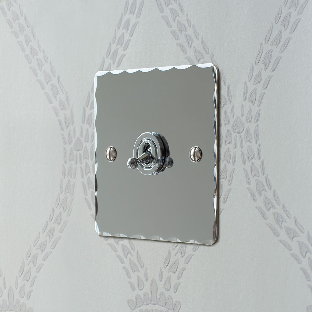 1 Gang Chrome Dolly Switch Nickel Hammered Plate