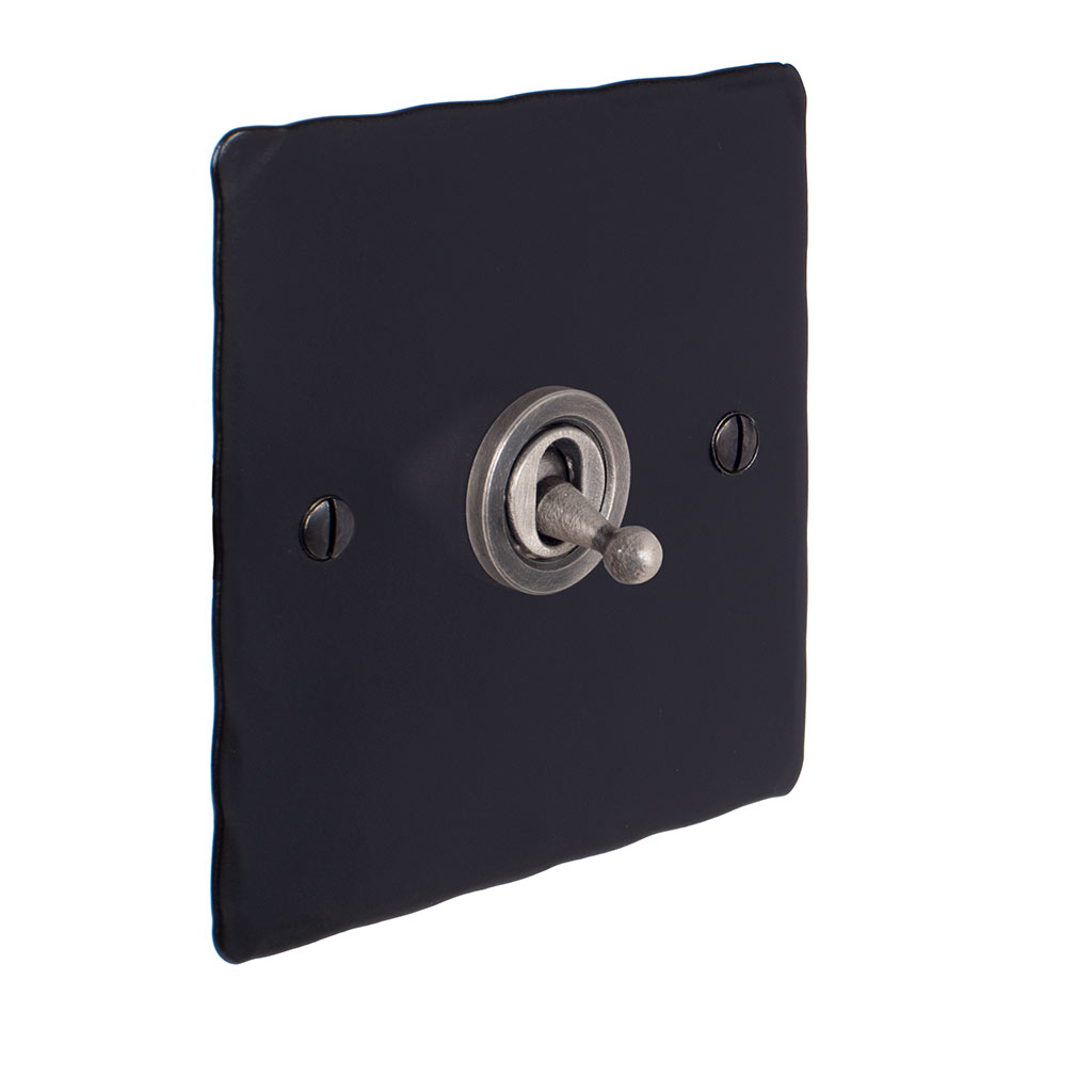 1 Gang Steel Dolly Switch Matt Black HammeredPlate