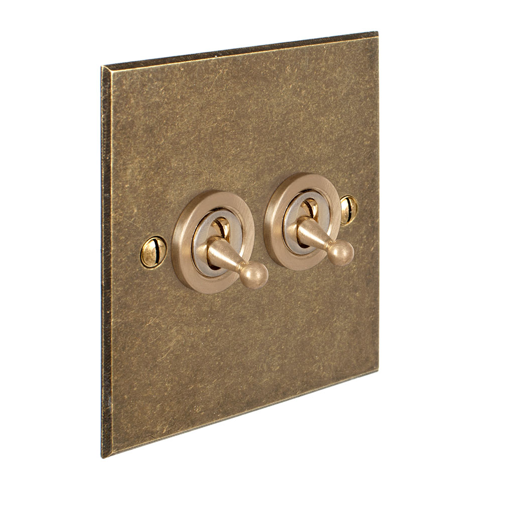 2 Gang Brass Dolly Switch Antiqued Brass Bevelled Plate