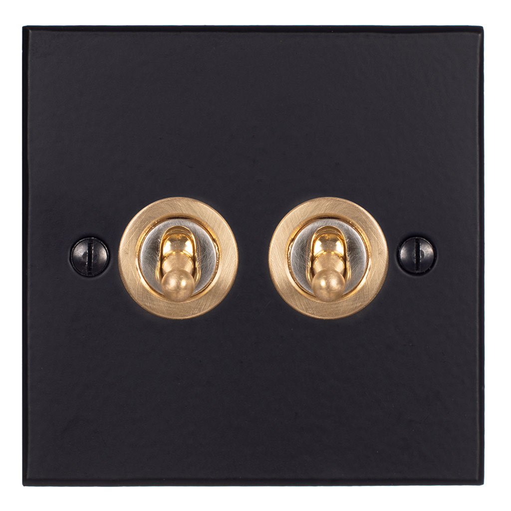 2 Gang Brass Dolly Switch Matt Black Bevelled Plate