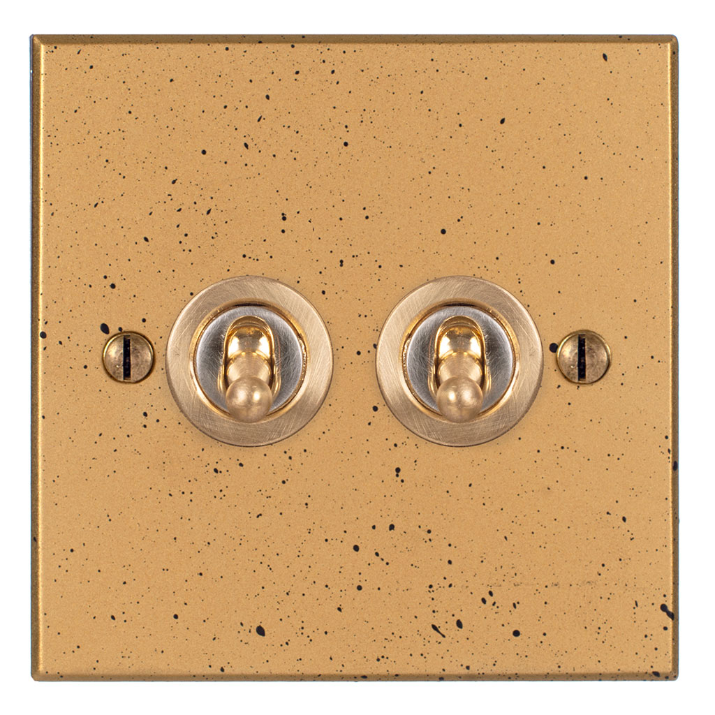 2 Gang Brass Dolly Switch Old Gold Bevelled Plate