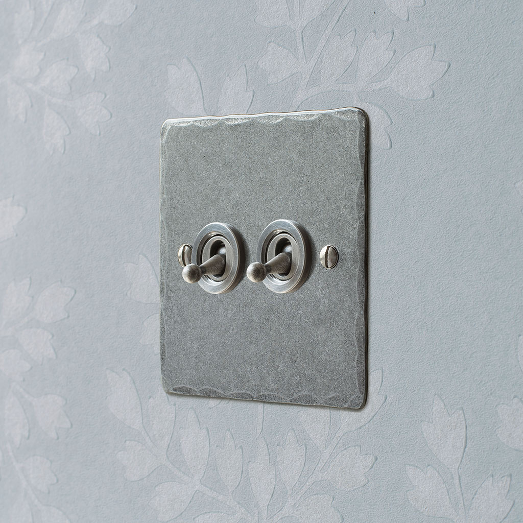 2 Gang Steel Dolly Switch Polished Hammered Plate