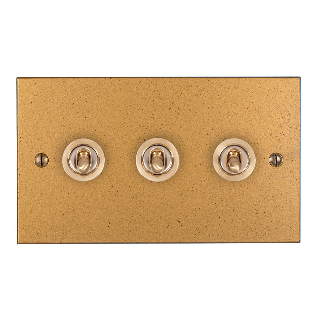 3 Gang Brass Dolly Switch Old Gold Bevelled Plate