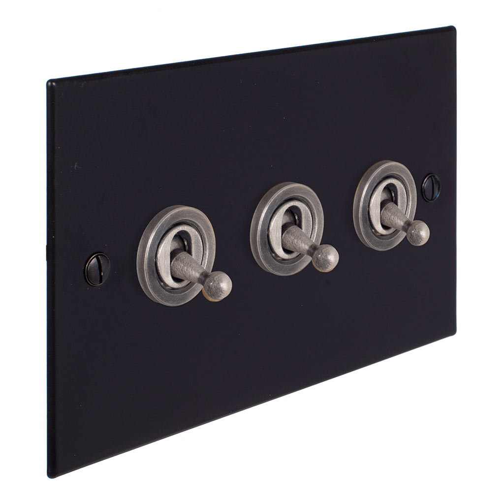 3 Gang Steel Dolly Switch Matt Black Bevelled Plate