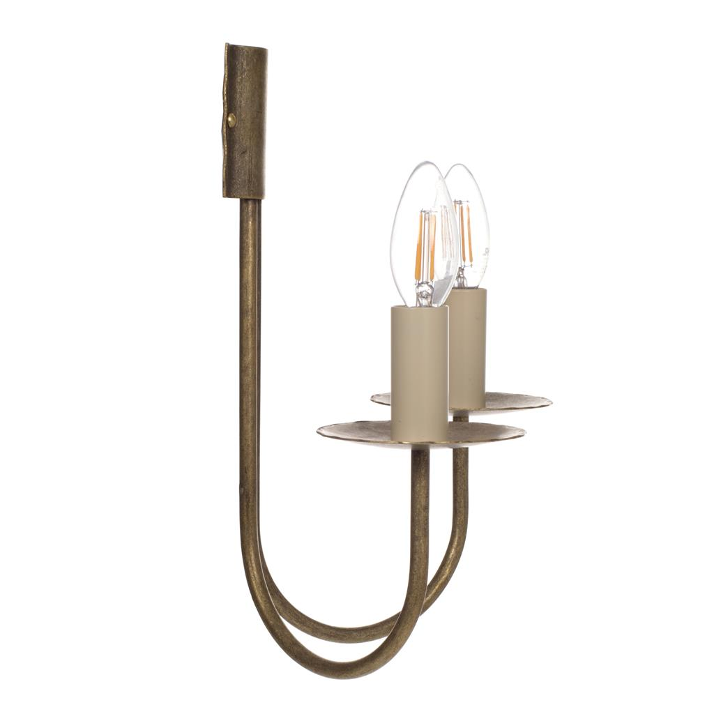 Double Classic Wall Light in Antiqued Brass
