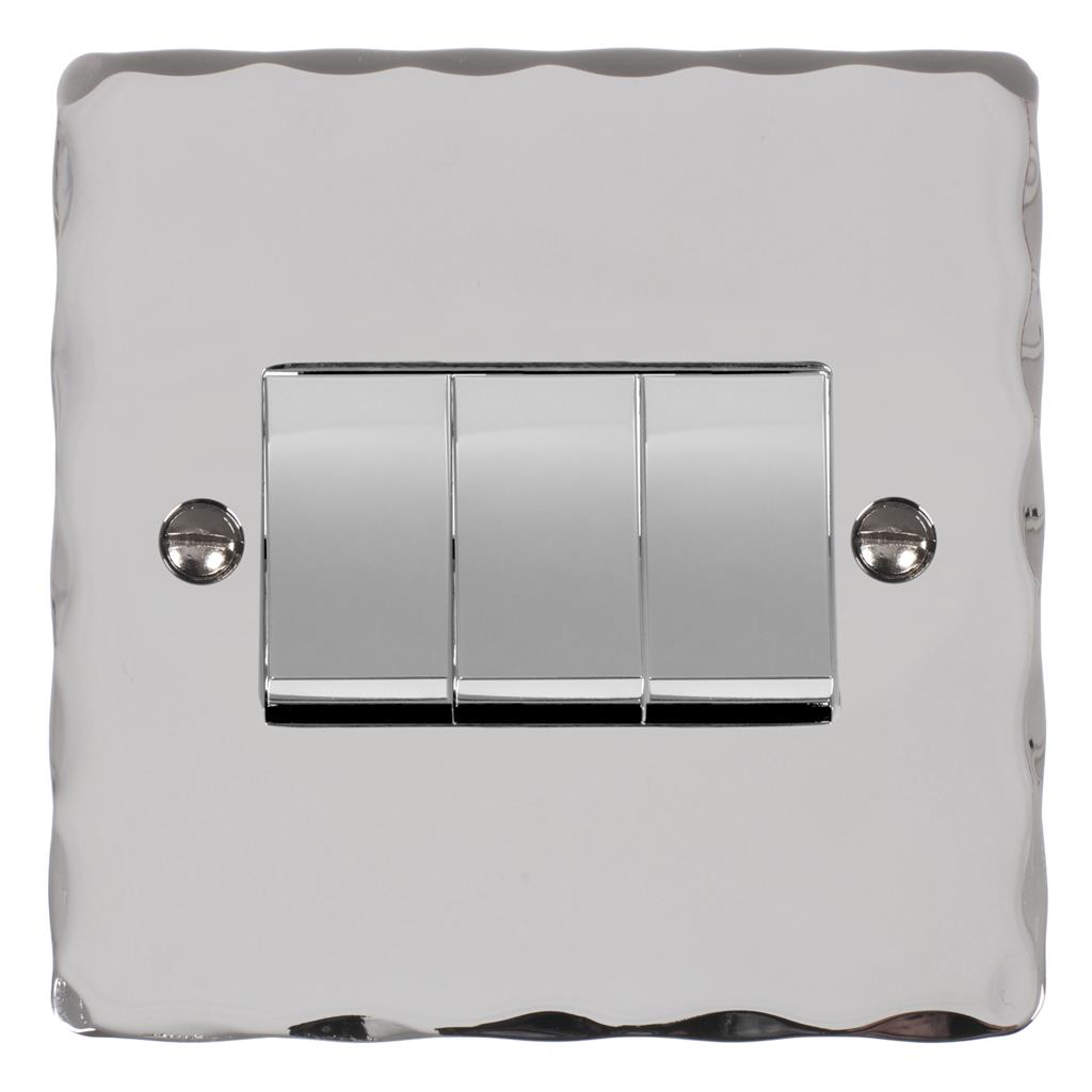 3 Gang Chrome Rocker Switch Nickel Hammered Plate(discontinued, only stock shown available)