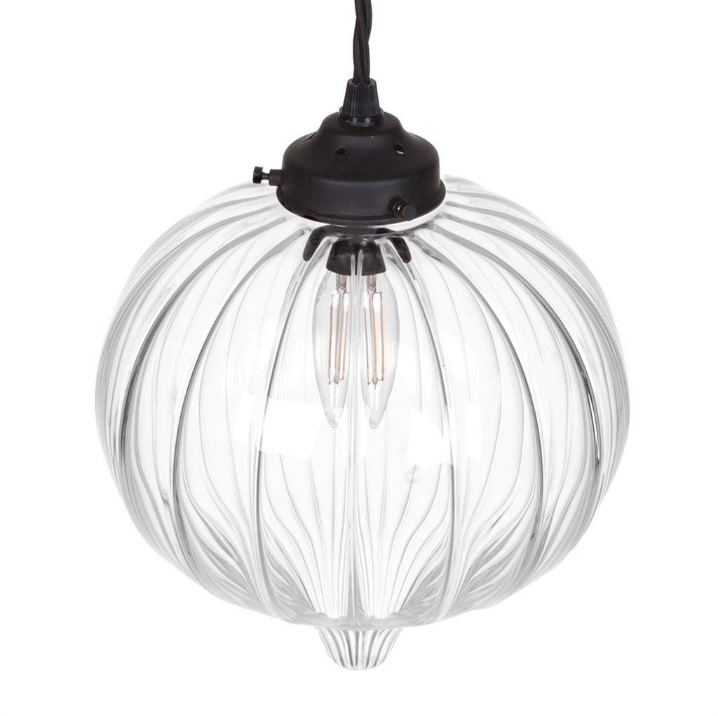 Ava Glass Pendant Light in Matt Black