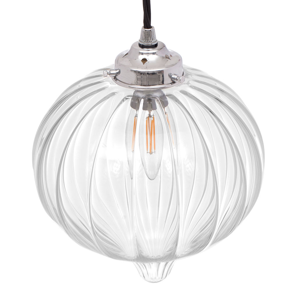 Ava Glass Pendant Light in Nickel