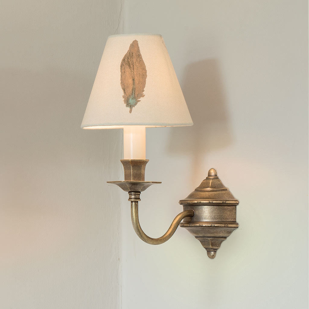 Single Brancaster Wall Light in Antiqued Brass