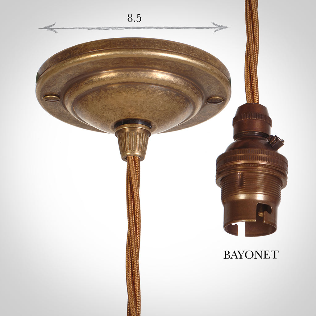Antiqued Brass Rose with 50cm Bronze BraidedCable & Bayonet Lampholder