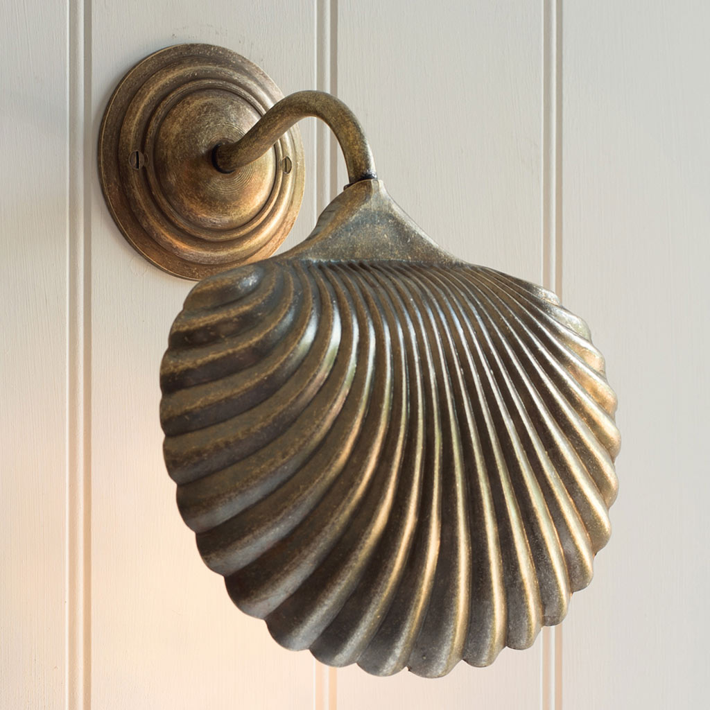 Scallop Wall Light in Antiqued Brass