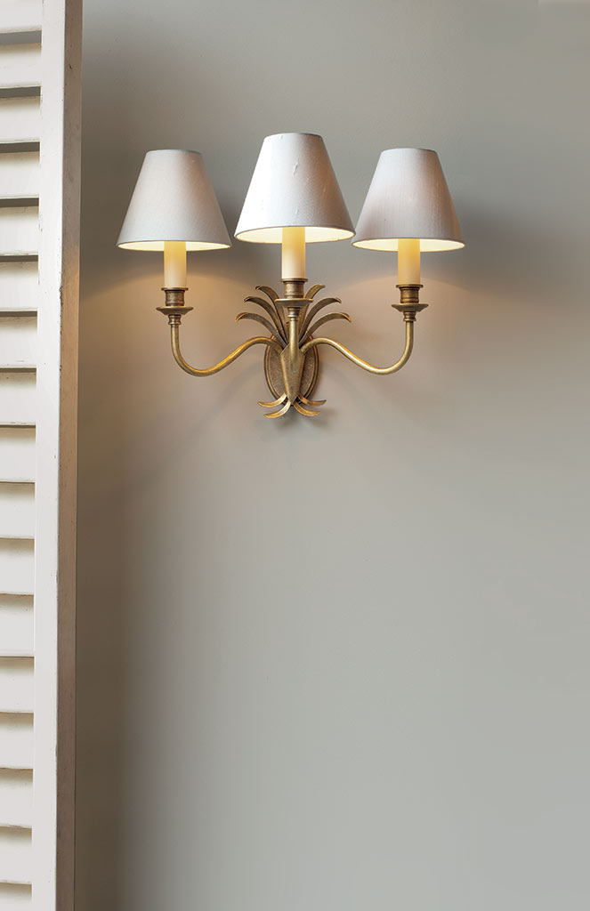 Triple Plantation Wall Light in Antiqued Brass