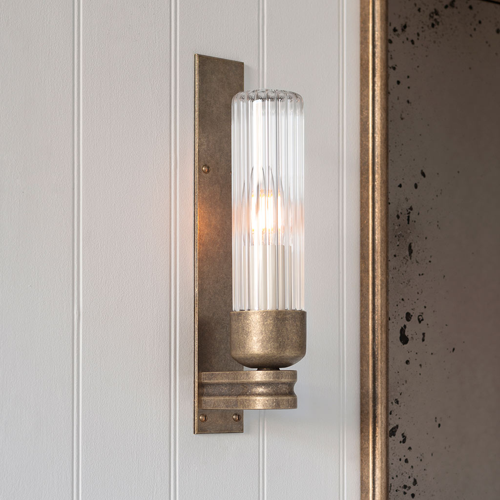 Brass Bathroom Light Fluted Glass Bathroom Wall Light