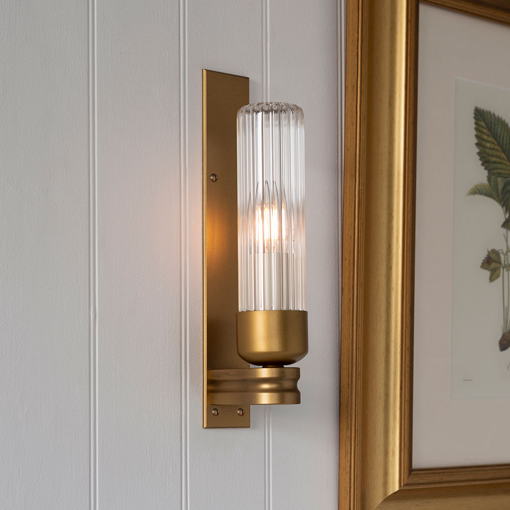 Raydon Wall Light in Old Gold (Fluted Glass)